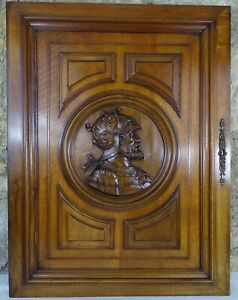 French Antique Large Carved Walnut Wood Panel/Door -Medieval Soldier with Eagle
