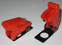 """2 X Toggle Switch Safety Cover - RED - 1/2"""" Diameter Opening  Heavy Duty Plastic"""