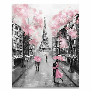 Pink Black & White Paris Painting Canvas Wall Art Picture Print Home Decor
