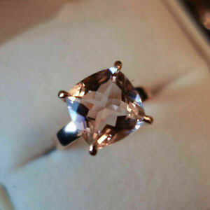 Women's Solitaire Engagement Ring 14K Rose Gold Over 2Ct Cushion Cut Morganite