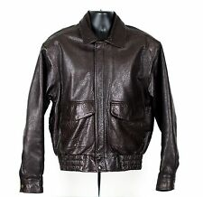 Vintage Dark Brown Leather Biker Bomber Jacket Original Wilson Small