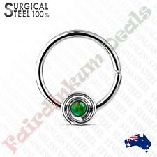 Surgical Steel Bendable Septum/Cartilage Hoop Ring With Green Opal Set Spiral