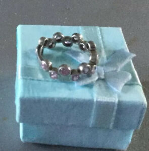 silver With Pink Stones Ring Valentine Mother's Day Birthday Anniversary Gift
