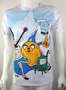 Official ADVENTURE TIME Cartoon Network Short Sleeve Shirt White Finn XXXS