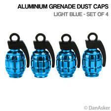4x Bleu Clair Grenade Voiture Vélo Moto BMX Roue pneu Valve Dust Caps