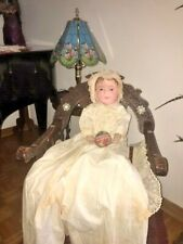 antique american cloth doll Martha Wellington damaged as is repainted