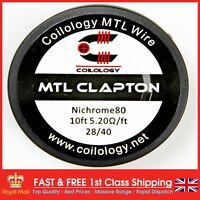 28 AWG MTL Clapton Coil Wire Ni80 (28 AWG & 40 AWG) 3 Metre (10ft) by Coilology