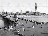 BLACKPOOL FROM NORTH PIER ENGLAND II OLD BW PHOTO PRINT POSTER 182BWB