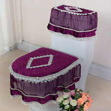 New Lace Bathroom Set Toilet Seat Pad Tank Lid Top Cover Warm Washable Cloth 3PC