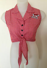 Rockabilly Pinup Sexy Sleeveless Tie Up Top Skull detail Red/White SIZE L  38""