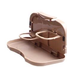 Brown Foldable Car Seat Back Mounted Beverage Food Cup Dining Tray Table Holder