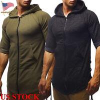 Fashion Mens Solid Color Jacket Zipper Sweatshirt Hood Pocket Tops Size M-2XL