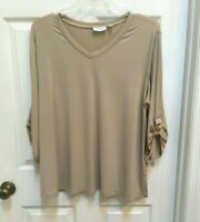 Susan Graver Women's 2X Liquid Knit Top 3/4 Buckle Sleeve Dark Wheat
