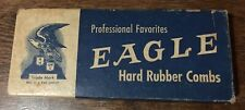 Vintage Eagle Hard Rubber Comb Box With 2 Unused Combs