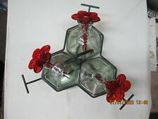 Vintage Parasol Bouquet 3  Clear Glass/Red Amberina Hummingbird Feeder ( NICE )