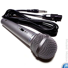 Silver Handheld Vocal Dynamic Microphone Inc Cable DJ Karaoke Disco Band ON/OFF