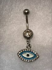 14 Gauge Evil Eye Navel Belly Button Ring Dangle Clear Gem Us Seller
