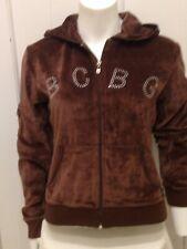 BCBG Maxazria Womens Brown Velour Velvet Hoodie Bling Sparkle Logo Full Zip M