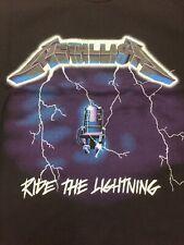 Retro Metallica Tshirt SizeL Ride The Lightning Black Band Tee Rock & Roll Metal