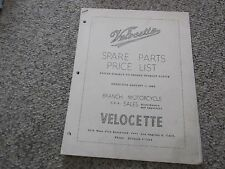 VELOCETTE 1961 SPARE PARTS PRICE LIST & PART NUMBERS BOOKLET 26 PAGES