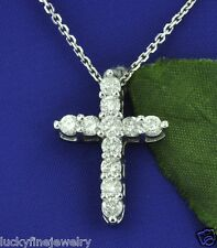 1.28 ct 14k Solid White Gold Natural Diamond Pendant Cross Pendant  Shared Prong