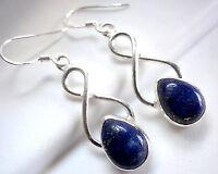 Lapis 925 Sterling Silver Earrings with Infinity Hoop Signifies Eternal Love New