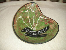 Vintage Green Red Speckled Glazed Pottery Bowl W/Painted Fossil Bird-Rocky Nati?