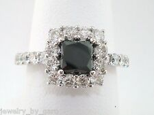 PLATINUM PRINCESS CUT ENHANCED BLACK DIAMOND ENGAGEMENT COCKTAIL RING 2.22 CARAT