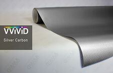 Silver carbon fiber vinyl DIY car wrap stretch film decal by VVIVID8 80ft x 5ft