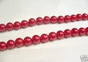 100+ pcs x Glass Pearl 8mm Round Beads: #71A Cherry Red