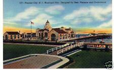 Ventnor City Pier NJ linen post card unused 1940's