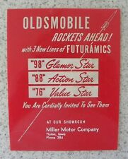 Oldsmobile Rockets,98,88,76 Glamor,Action Star,Miller Motor,Tipton Iowa IA SIGN