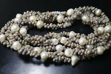 VINTAGE 3 STRANDS  NATURAL WHITE PEARL SHELL  BEACH NECKLACE