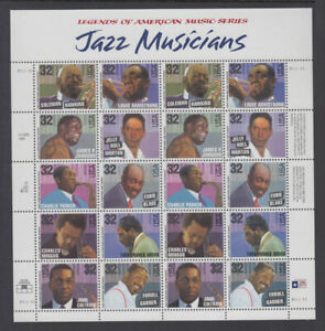 US #2983 - 2992 Jazz Musicians 32 Cents Complete Sheet of 20 Mint Never Hinged