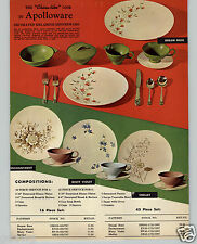 1962 PAPER AD Apolloware Melamine  Dream Rose Misty Violet Shelley Enchantment