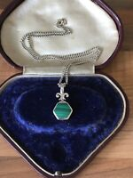 "Beautiful 16"" Marked Sterling Silver & Malachite Necklace 8.36gr"