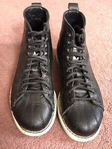 Adidas Super Stars La Marque Aux 3 Bandes Black Leather Boots Size 4.5