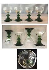 German Green Stem Etched Grape Rhein Roemer 4 oz Cordial Wine Glass 4-Piece Set