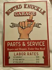 "BUSTED KNUCKLE GARAGE ""LABOR RATES"" METAL EMBOSSED RAISED LETTER SIGN"