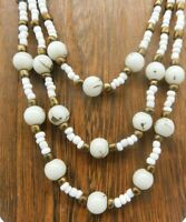 "Vintage Gold Paint Splatter Milk Glass Seed Bead Multi Layer Strand 15"" Necklace"