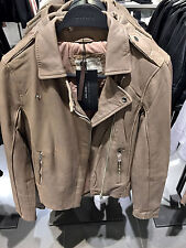 MWT - Size M - ZARA LEATHER BIKER JACKET DISTRESSED LOOK TAUPE GREY COAT BLAZER