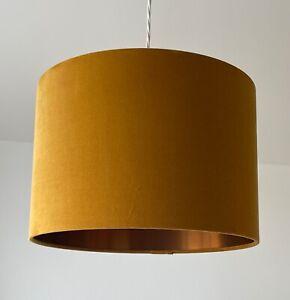 Lampshade Mustard Yellow Velvet Brushed Copper Drum Light Shade