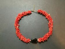 Vintage 3 Strand Natural Red Coral Branch Necklace Choker