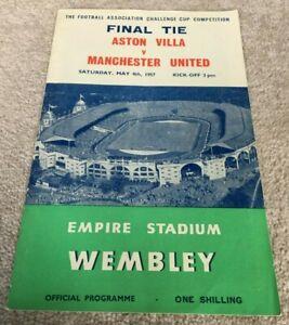 1957 FA Cup Final Programme Aston Villa v Manchester United at Wembley Stadium