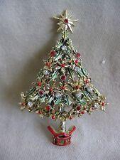 1950's Vintage Goldtone Enamel Crystal Christmas Tree Pin - Neiman Marcus
