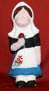Vintage European Girl With Folk Costume Ceramic Pottery Figurine