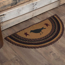 COUNTRY PRIMITIVE RUSTIC HALF CIRCLE JUTE RUG VHC BRANDS ~ HERITAGE FARMS CROW