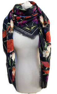 ALEXANDER MCQUEEN LARGE NAVY RED MYTHICAL CREATURE PRINT MODAL WOOL SQUARE SCARF
