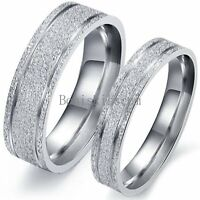 Frosted Stainless Steel Bridal Groom Engagement Promise Ring Couple Wedding Band