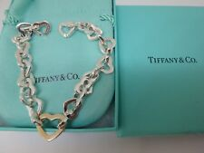 "Tiffany & Co 18K Gold & Sterling Silver Heart Link Bracelet 7.5"""